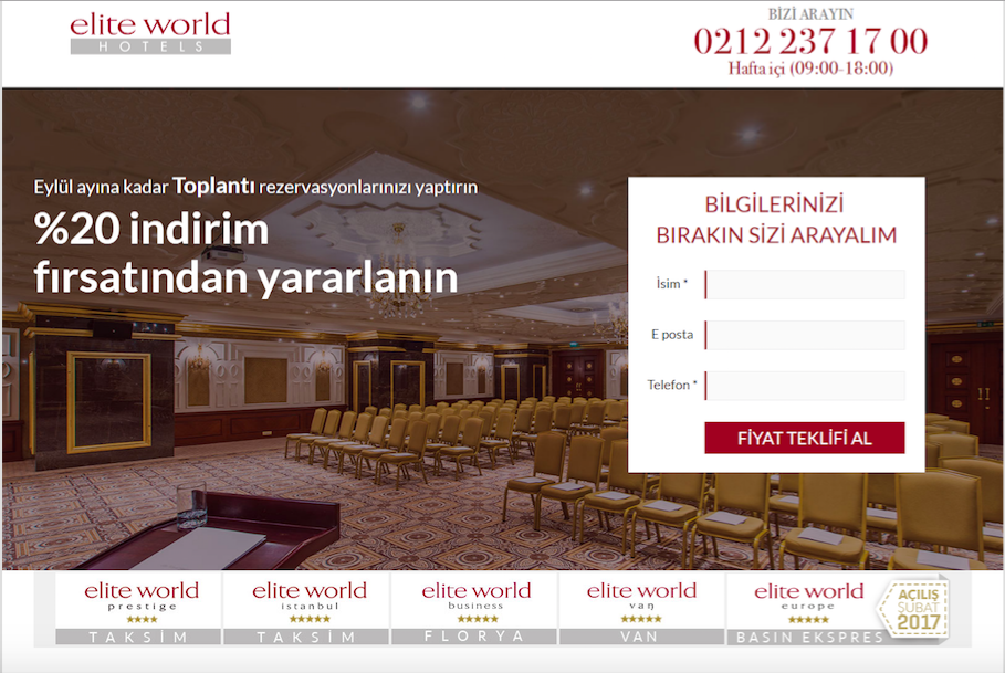 Elite World Hotels Landing Page Corporate Meetings