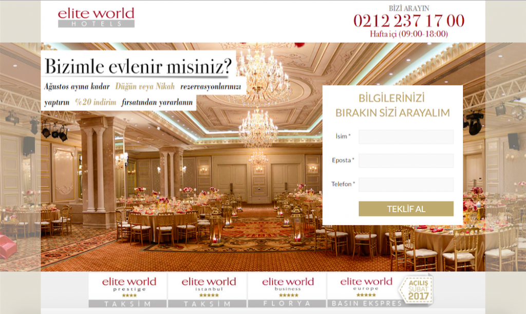 Elite World Hotels Landing Page Düğün